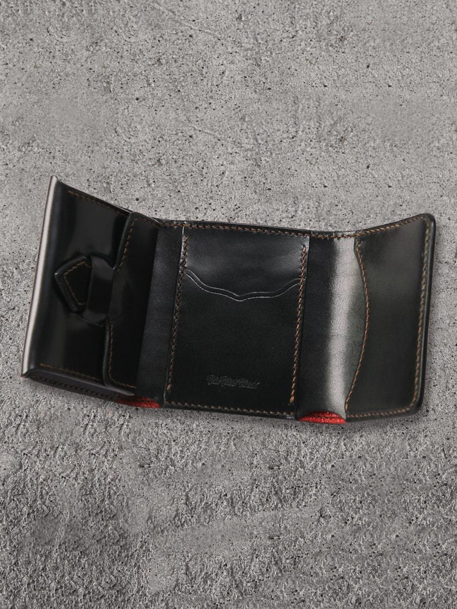 コードバンと多脂革のコンビ 三つ折ミニウォレット FN-WSN3-3S4