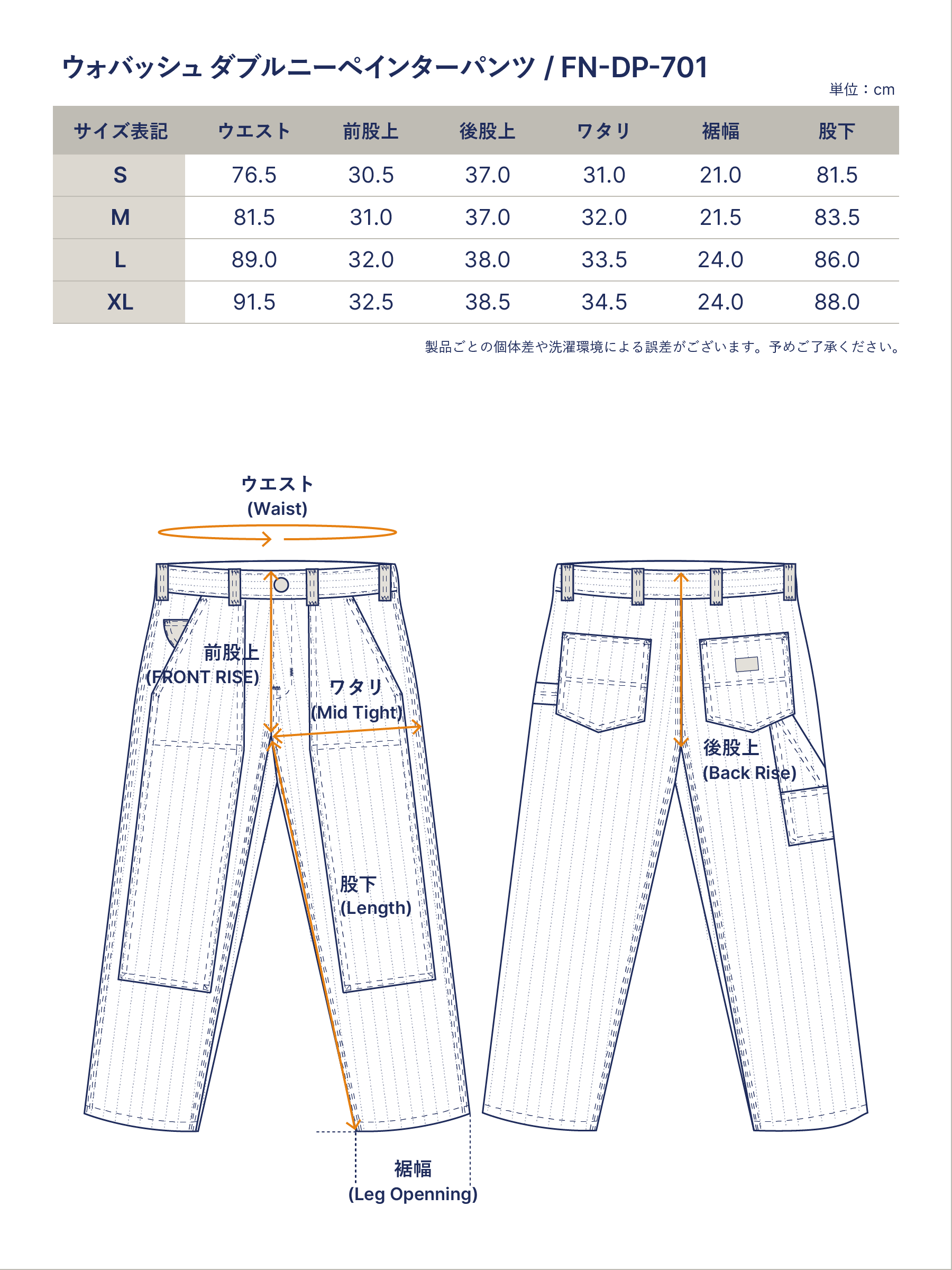 ウォバッシュ ダブルニーペインターパンツ FN-DP-701